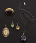 Estate Jewelry:Other , One Gold Pin & Four Gold Pendants. ... (Total: 5 Items)