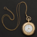 Timepieces:Pocket (post 1900), Waltham 14k Gold 6 Size With 14k Gold Chain. ...