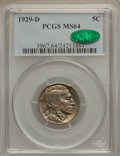 Buffalo Nickels: , 1929-D 5C MS64 PCGS. CAC. PCGS Population (488/208). NGC Census:(324/70). Mintage: 8,370,000. Numismedia Wsl. Price for pr...