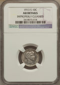 Barber Dimes: , 1913-S 10C -- Improperly Cleaned -- NGC Details. AU. NGC Census:(1/96). PCGS Population (9/138). Mintage: 510,000. Numisme...