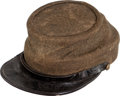 Military & Patriotic:Civil War, Classic Confederate Enlisted Man's Reclaimed Jean Cloth Kepi in Remarkable Condition....
