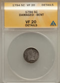 Early Half Dimes, 1794 H10C -- Damaged, Bent -- ANACS. VF20 Details. V-4, LM-4,R.4....
