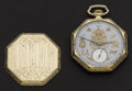 Timepieces:Pocket (post 1900), Elgin Gold Filled Masonic Dial 17 Jewel Pocket Watch. ...
