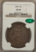 Seated Dollars, 1846 $1 AU58 NGC. CAC....
