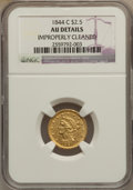 Liberty Quarter Eagles, 1844-C $2 1/2 -- Improperly Cleaned -- NGC Details. AU....