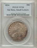 Bust Half Dollars: , 1834 50C Small Date, Small Letters VF20 PCGS. PCGS Population(11/865). (#6166)...