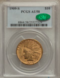 Indian Eagles, 1909-S $10 AU58 PCGS. CAC....