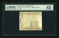 Colonial Notes:Connecticut, Connecticut June 19, 1776 1s/6d Uncancelled PMG Choice Uncirculated 63....