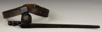 1872 PATTERN HAGNER BELT WITH PLATE - Belt equipped with Springfield Trapdoor bayonet and frog. Bayonet stamped 'U.S.' B...