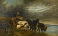 Fine Art - Painting, European:Antique  (Pre 1900), CONTINENTAL SCHOOL (Nineteenth Century). Landscape withCows. Oil on canvas. 25-1/2in. x 39-1/2in.. ... (Total: 1 Item)
