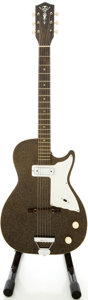 Musical Instruments:Electric Guitars, 1960s Alden H45 Stratotone Mars Black Sparkle Semi-Hollow BodyElectric Guitar. ...