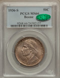 Commemorative Silver: , 1936-S 50C Boone MS66 PCGS. CAC. PCGS Population (222/55). NGCCensus: (234/32). Mintage: 5,006. Numismedia Wsl. Price for ...
