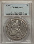 Seated Dollars, 1870-CC $1 Genuine PCGS. The PCGS number ending in .92 suggestscleaning as the reason, or perhaps one of the reasons, that...
