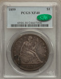 Seated Dollars: , 1859 $1 XF40 PCGS. CAC. PCGS Population (18/96). NGC Census:(2/69). Mintage: 255,700. Numismedia Wsl. Price for problem fr...