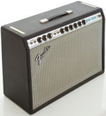 Musical Instruments:Amplifiers, PA, & Effects, Late 1960s Fender Deluxe Reverb Silverface Black Guitar Amplifier,Serial # A38175. ...