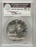 Modern Issues, 1986-P $1 Statue of Liberty Silver Dollar Insert autographed ByJohn M. Mercanti,12th Chief Engraver of the U.S. Mint, MS...