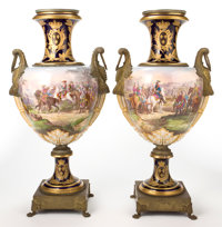 A PAIR OF MONUMENTAL SEVRES-STYLE PORCELAIN AND GILT BRONZE URNS Maker unknown, France, circa 1900 Unmarked