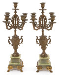 Decorative Arts, Continental, A PAIR OF CONTINENTAL FIVE-LIGHT PATINATED BRONZE AND MARBLECANDELABRA . Maker unknown, Continental, circa 1900. 21-5/8 inc...(Total: 2 Items)