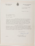Autographs:Authors, William Kaye Lamb (Canadian Historian and Librarian, 1904-1999).Typed Letter Signed. Approximately 11 x 8.5 inches. A few c...