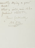 Autographs:Authors, Nathan Haskell Dole (American Author and Translator, 1852-1935).Autograph Letter Signed. Two twelvemo pages on one octavo s...