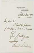 Autographs:Artists, Sir Francis Dicksee (British Painter and Illustrator, 1853-1928).Autograph Note Signed as Frank Dicksee. Approximately 7 x ...
