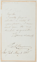 Autographs:Authors, Park Benjamin, Jr. (American Lawyer, Doctor, and Writer, 1849-1922). Autograph Note Signed [and]: Signed Check. Letter appro...