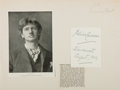 Autographs:Authors, Bliss Carman (Canadian Poet, 1861-1929). Signed Card. Approximately3.5 x 2.5 inches. Mounted onto larger sheet. Mild toning...