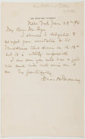 Autographs:Authors, Isaac Hill Bromley (American Lawyer and Humorist, 1833-1898).Autograph Letter Signed. Approximately 8 x 5 inches. Some toni...