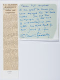 Autographs:Celebrities, V. C. Clinton Baddeley (British Actor and Author, ????-1970).Autograph Note Signed. Approximately 4.25 x 4.75 inches. Corne...