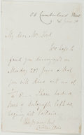 Autographs:Authors, Caroline Clive (British Writer, 1801-1872). Autograph Note Signed.Approximately 7 x 4.5 inches. A few creases, some rubbing...