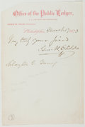 Autographs:Authors, George William Childs (American Publisher, 1829-1894). AutographNote Signed. Approximately 7.25 x 5 inches. Upper corner cl...