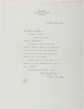 Autographs:Authors, Rex Beach (American Novelist, Olympic Water Polo Player,1877-1949). Typed Letter Signed. Approximately 11 x 8.5 inches.Ton...