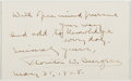 Autographs:Authors, Thornton W. Burgess (American Children's Author, 1874-1965). Autograph Card Signed. Approximately 2.5 x 4 inches. Some stick...