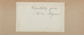 Autographs:Authors, William Cullen Bryant (American Poet and Editor, 1794-1878).Clipped Signature. Approximately 3 x 5 inches. Mounted onto lar...