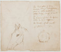 Autographs:Artists, George Cruikshank (British Illustrator and Caricaturist,1792-1878). Original Drawings and Autograph Sentiment, Unsigned).O...