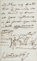 Autographs:Authors, George Cruikshank (British Illustrator and Caricaturist, 1792-1878). Autograph Letter Signed. Two octavo pages on one quarto...
