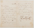 Autographs:Artists, George Cruikshank (British Illustrator and Caricaturist, 1792-1878). Secretarial Letter Signed by Cruikshank. Two octavo pag...