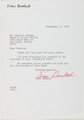 Autographs:Authors, Erma Bombeck (American Humorist and Author, 1927-1996). TypedLetter Signed. Approximately 9 x 6.25 inches. A few creases. F...