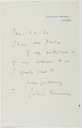 Autographs:Authors, John Buchan (Scottish-Born Canadian Author and Politician,1875-1940). Autograph Note Signed. Approximately 7 x 4.5 inches....