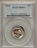 Buffalo Nickels: , 1934 5C MS65+ PCGS. PCGS Population (542/191). NGC Census:(282/82). Mintage: 20,213,004. Numismedia Wsl. Price for problem...