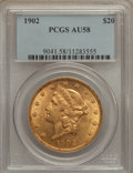 Liberty Double Eagles: , 1902 $20 AU58 PCGS. PCGS Population (87/390). NGC Census:(114/321). Mintage: 31,140. Numismedia Wsl. Price for problemfre...