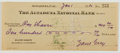Autographs:Authors, Zane Grey. (1872-1939, American Writer of Western Novels). SignedPersonal Check. Altadena: Jan 1, 1930. Approximately 2.5 x...