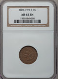 Indian Cents: , 1886 1C Type One MS62 Brown NGC. NGC Census: (43/192). PCGSPopulation (12/92). Mintage: 17,654,290. Numismedia Wsl. Price ...