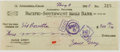 Autographs:Authors, Zane Grey. (1872-1939, American Writer of Western Novels). SignedPersonal Check. Altadena: May 9, 1928. Approximately 2.5 x...