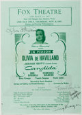 Autographs:Celebrities, Olivia de Haviland (American Actress, b. 1916). Signed TheaterProgram. Approximately 8.25 x 6 inches. Creased, one small ch...