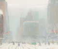 Fine Art - Painting, European, JOHANN BERTHELSEN (Danish/American, 1883-1972). Fifth AvenueLooking South from 60th Street. Oil on canvas. 20 x 24 inch...