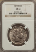 Barber Half Dollars, 1898-S 50C MS62 NGC....