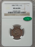 Indian Cents, 1886 1C Type One MS66 Brown NGC. CAC....