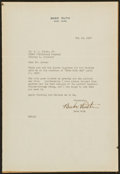 Baseball Collectibles:Others, 1947 Babe Ruth Typed Signed Letter - With Great Content!...