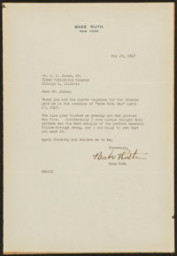 1947 Babe Ruth Typed Signed Letter - With Great Content!